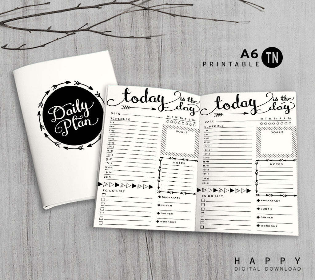 Printable Traveler's Notebook Daily Insert - A6 TN - Arrow