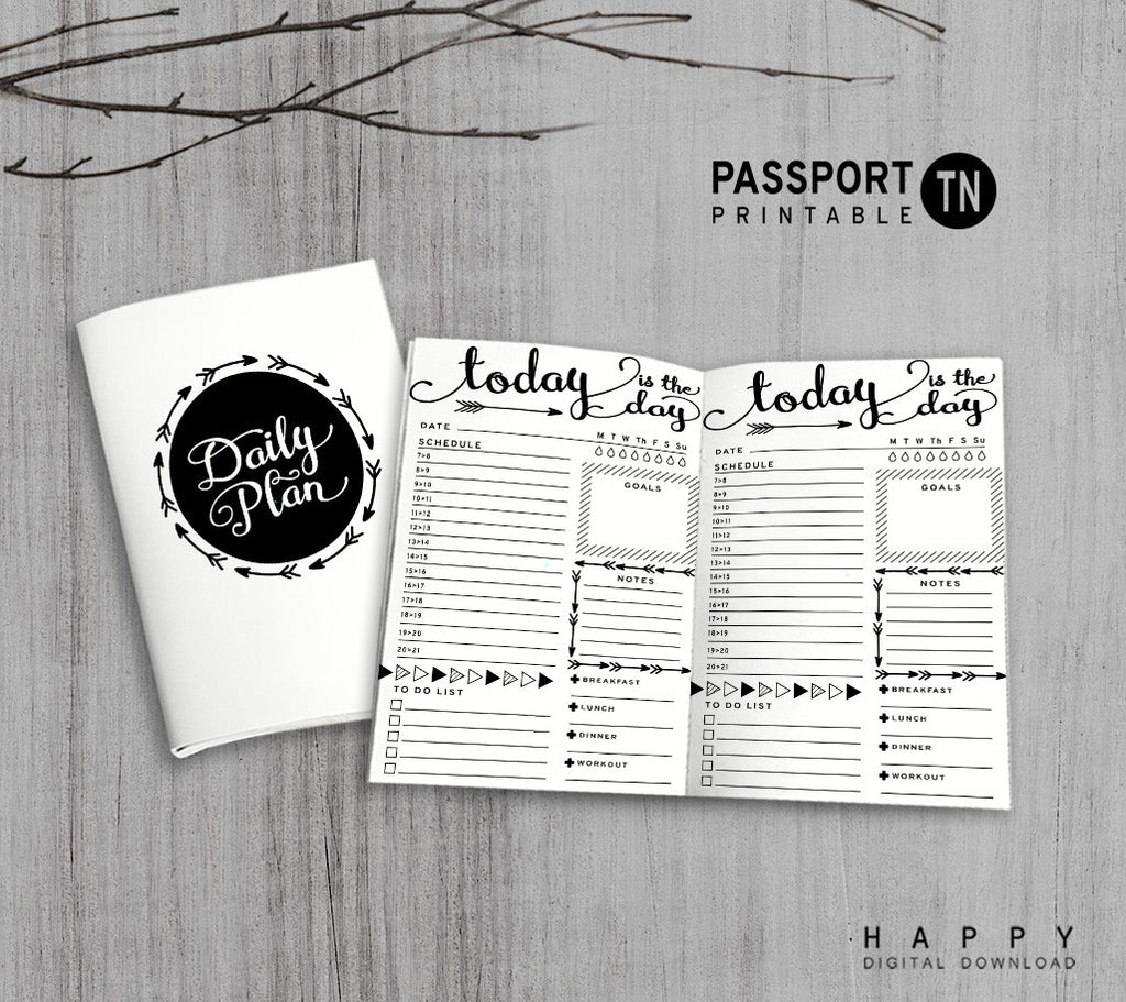 Printable Traveler's Notebook Daily Insert - Passport TN - Arrow