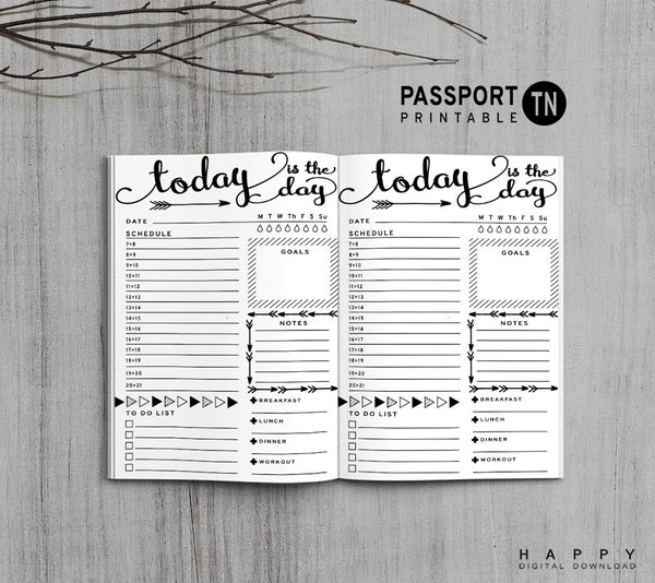 Printable Traveler S Notebook Daily Insert Passport Tn