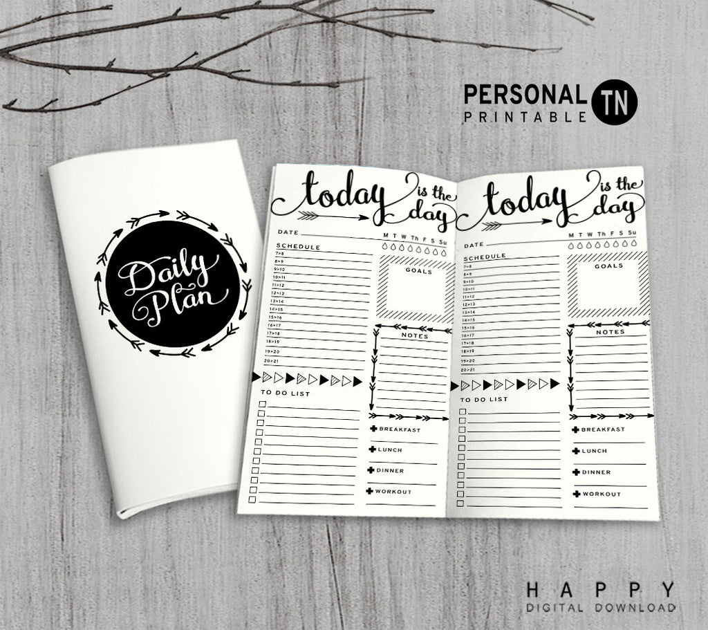 Printable Traveler's Notebook Daily Insert - Personal TN - Arrow
