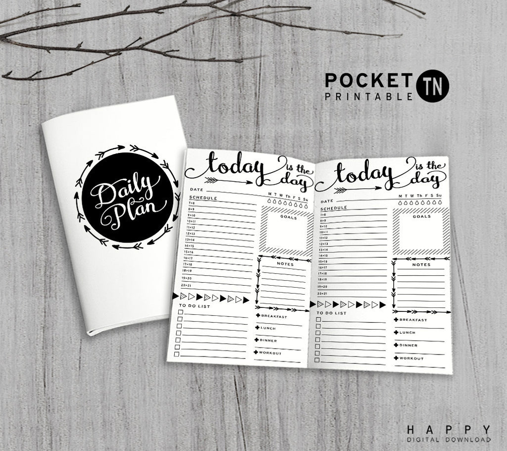 Printable Travelers Notebook Daily Insert - Pocket TN - Arrow