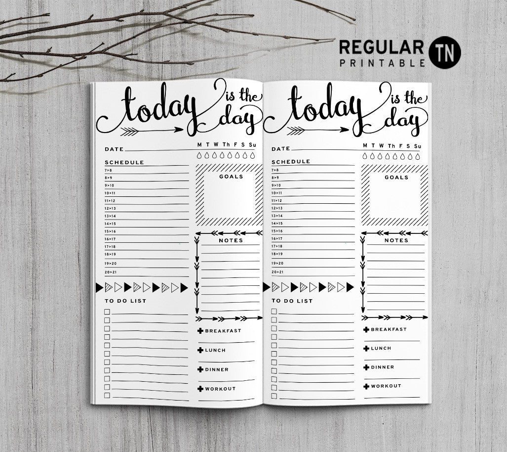 Printable Traveler's Notebook Daily Insert - Regular TN - Arrow
