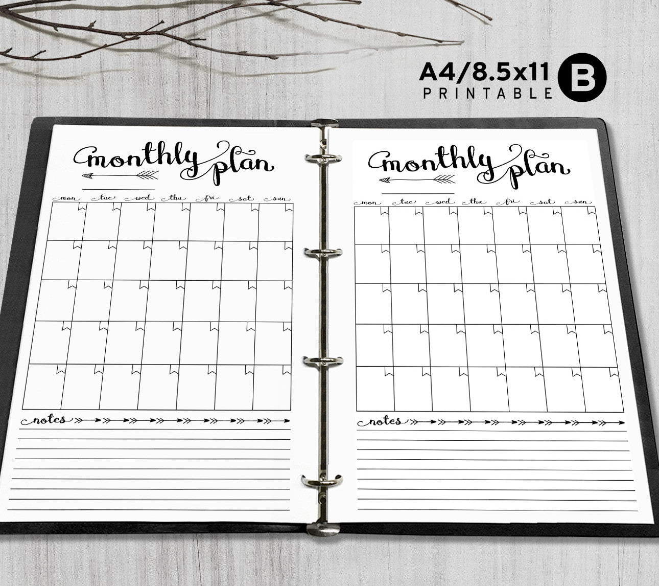 graphic regarding Binder Inserts Printable titled Printable A4, Letter Regular monthly Planner Inserts, A4 / Letter Binder - Arrow
