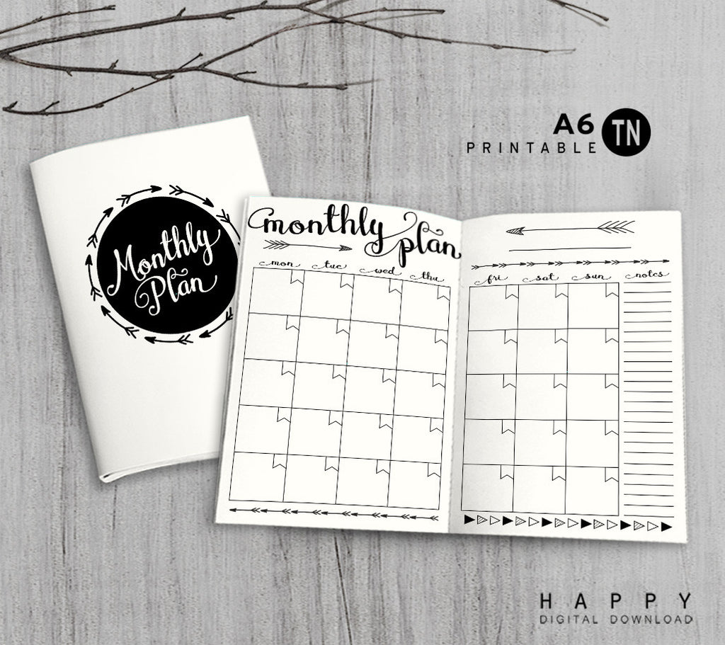 Printable Traveler's Notebook Monthly Insert - A6 TN - Arrow