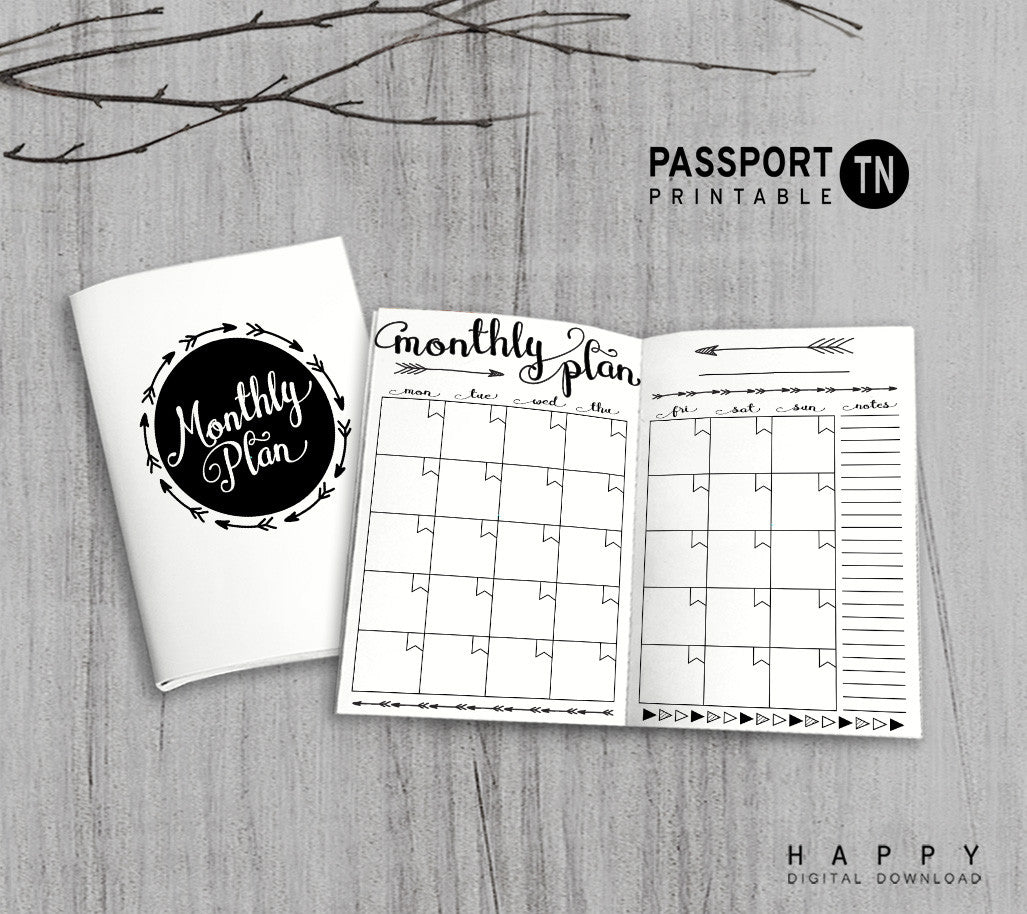 image about Passport Printable referred to as Printable Travellers Laptop computer Month to month Add - Pport TN - Arrow