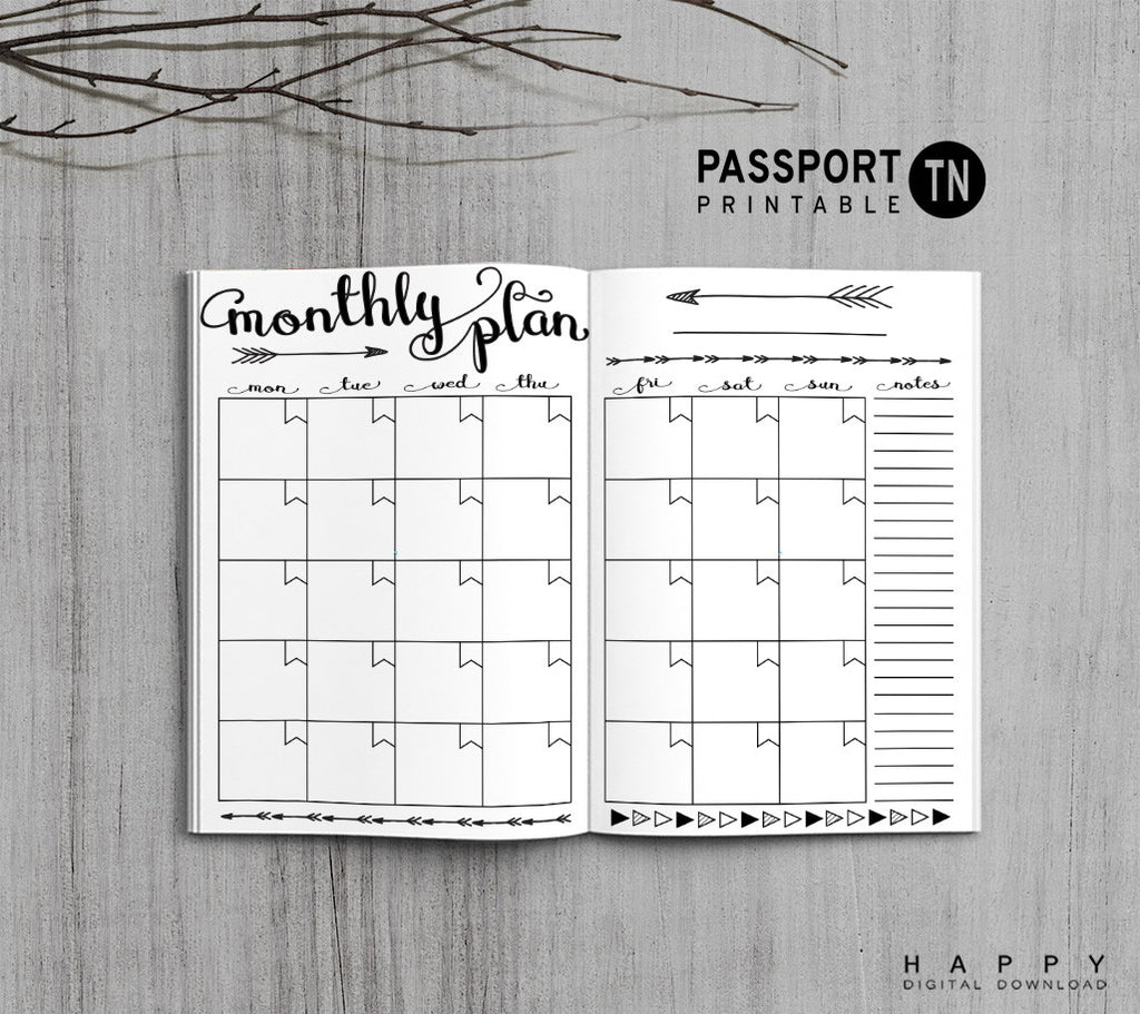 Printable Traveler's Notebook Monthly Insert - Passport TN - Arrow