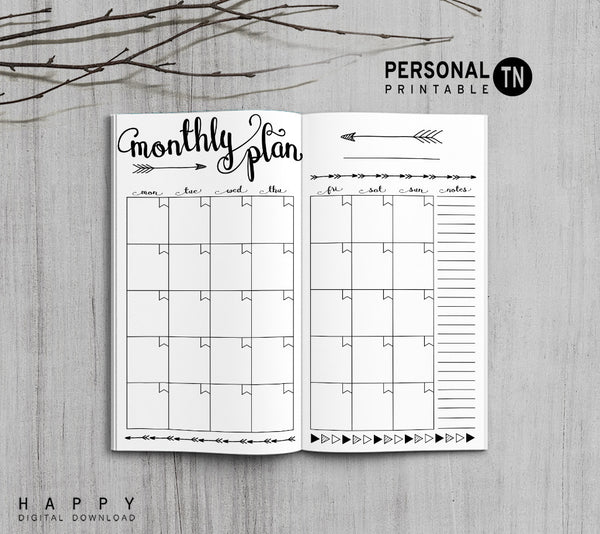 Printable Traveler S Notebook Monthly Insert Personal Tn