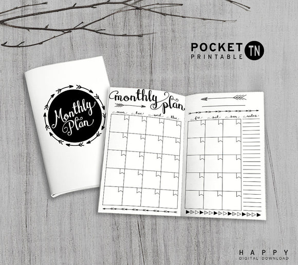 Printable Travelers Notebook Monthly Insert - Pocket TN - Arrow