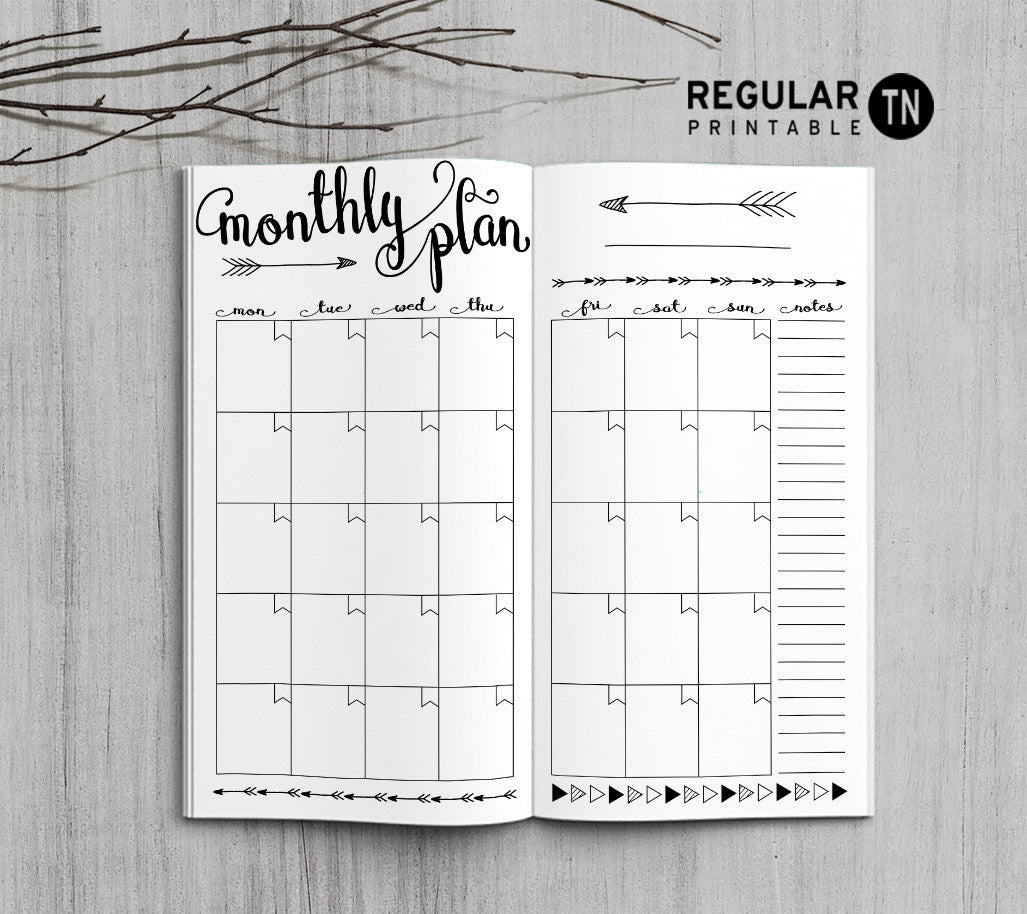 Printable Traveler's Notebook Monthly Insert - Regular TN - Arrow