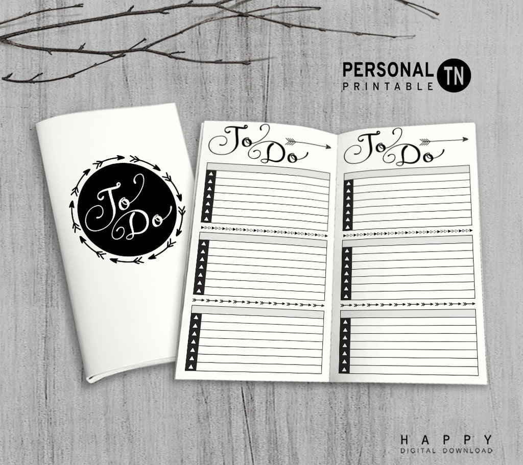 Printable Traveler's Notebook To Do List Insert - Personal TN - Arrow