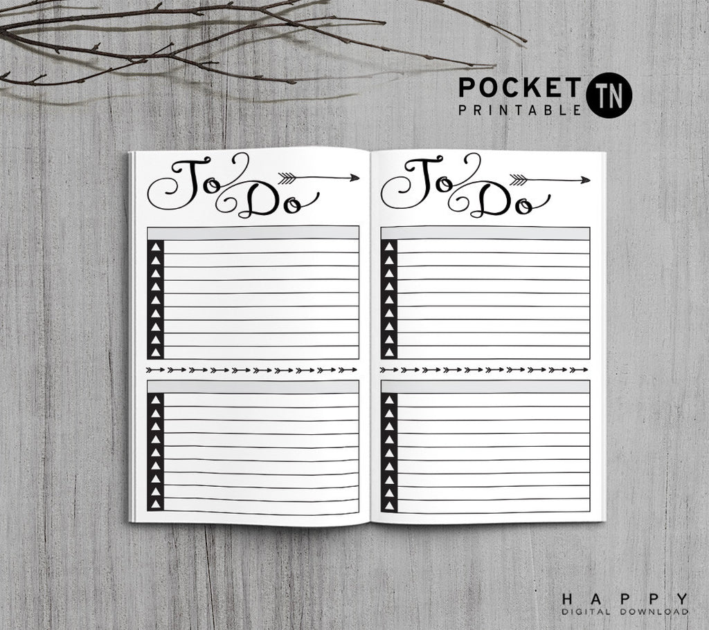 Printable Travelers Notebook To Do List Insert - Pocket TN - Arrow