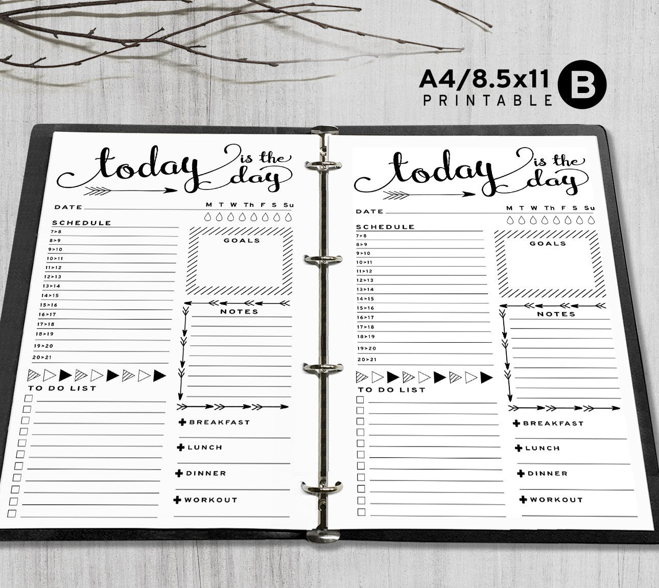 photograph regarding Daily Planner Printable identified as Printable A4, Letter Each day Planner Inserts, A4 / Letter Binder - Arrow
