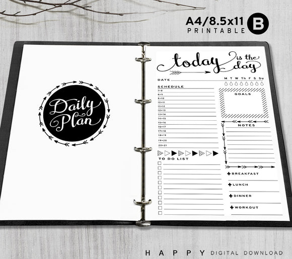 Printable A4, Letter Daily Planner Inserts, A4 / Letter Binder - Arrow