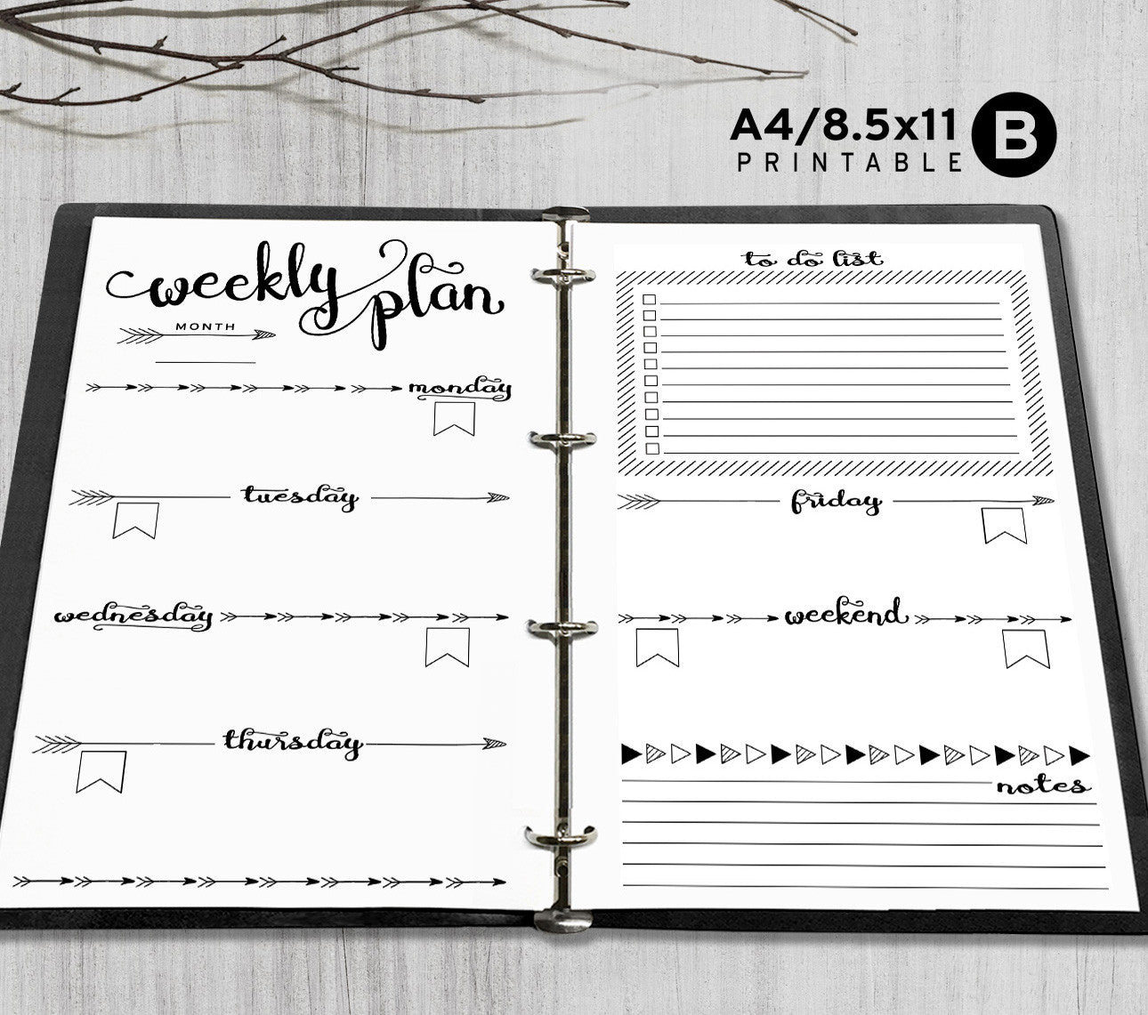graphic regarding Weekly Printable identified as Printable A4, Letter Weekly Planner Inserts, A4 / Letter Binder - Arrow