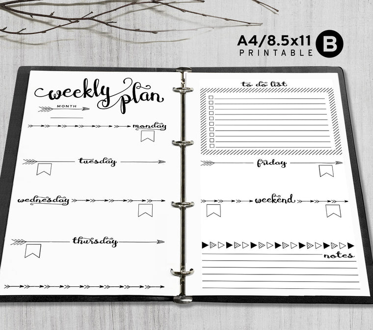 Printable A4, Letter Weekly Planner Inserts, A4 / Letter Binder - Arrow