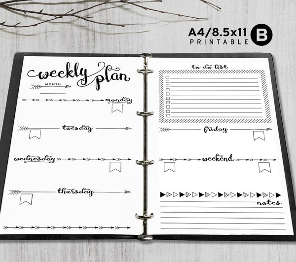 Printable A4, Letter Weekly Planner Inserts, A4 / Letter ...