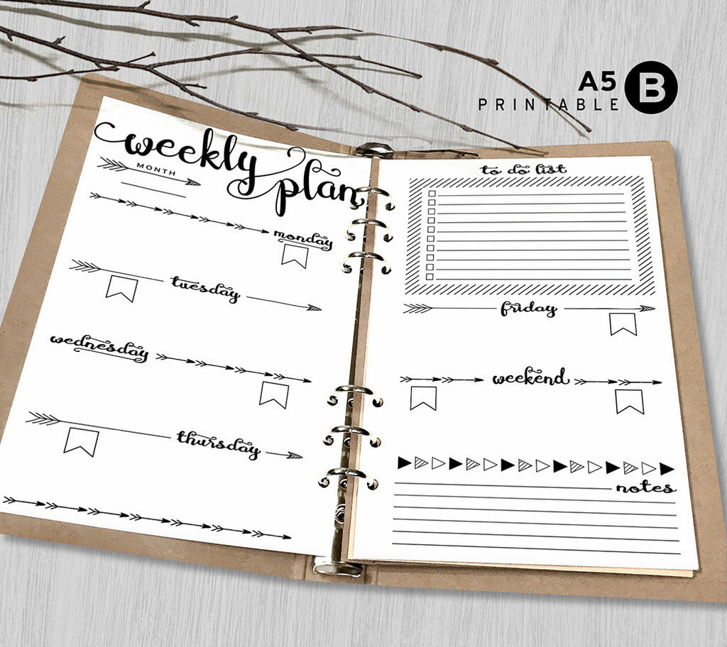 Printable Arrows A5 Weekly Planner Inserts, A5 Binder - Arrow