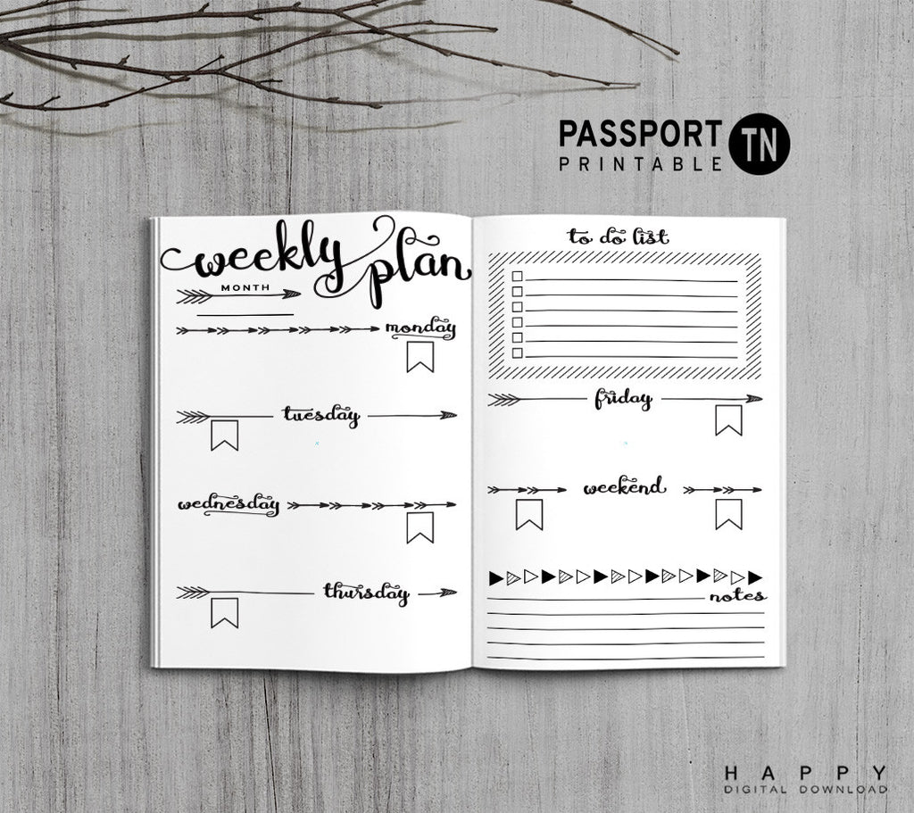 Printable Traveler's Notebook Weekly Insert - Passport TN - Arrow
