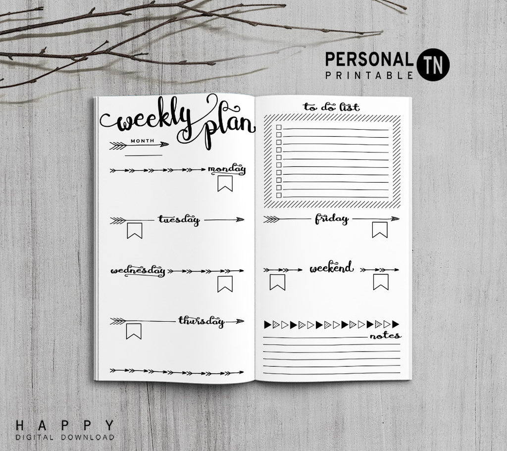 Printable Traveler's Notebook Weekly Insert - Personal TN - Arrow