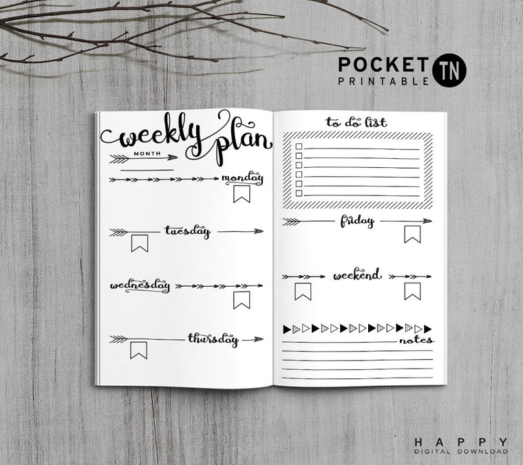 Printable Travelers Notebook Weekly Insert - Pocket TN - Arrow