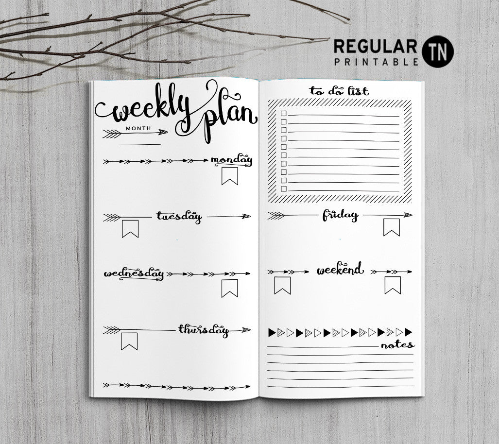 Printable Traveler's Notebook Weekly Insert - Regular TN - Arrow
