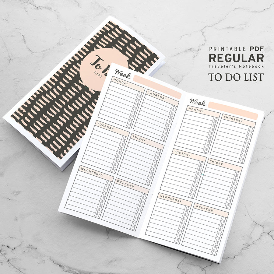 Printable Traveler's Notebook Weekly To Do Insert - Regular TN