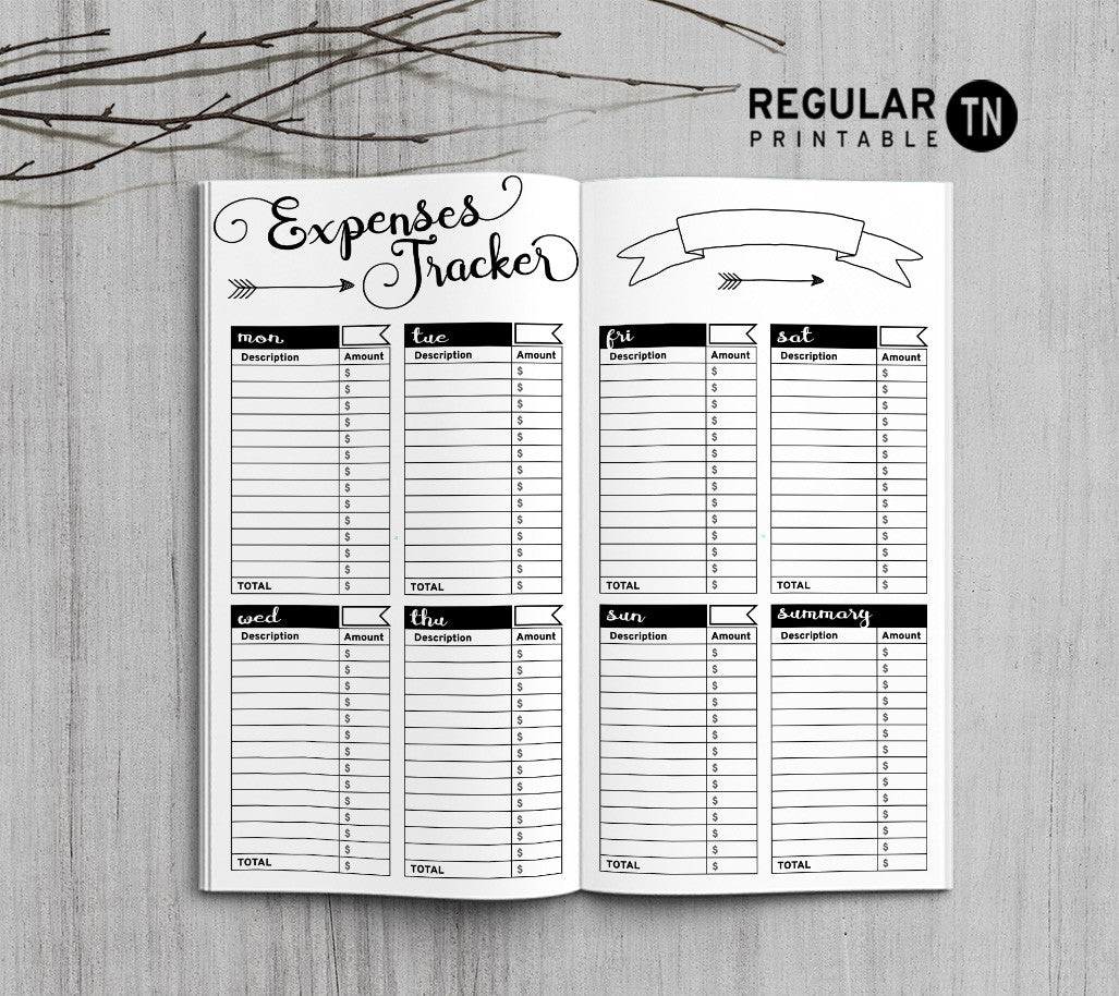 Printable Traveler's Notebook Expenses Tracker Insert - Regular TN