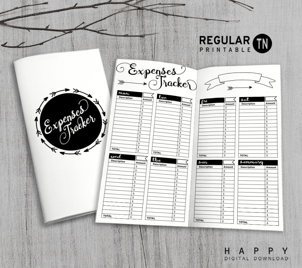 image about Free Printable Traveler's Notebook Inserts identify Printable Holidaymakers Laptop Expenditures Tracker Include - Monthly TN