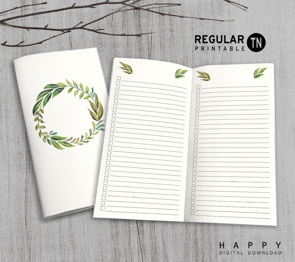 Printable Traveler's Notebook Checklist Insert - Regular TN - Leaves