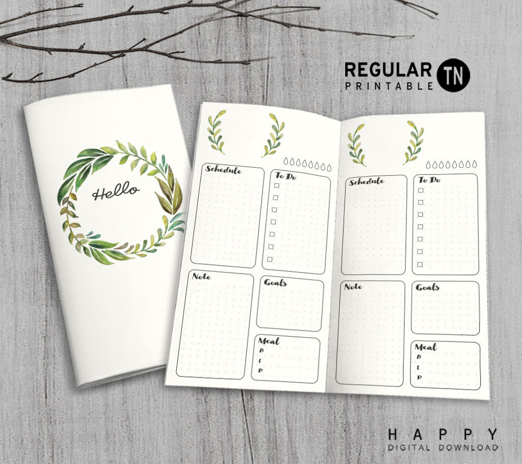 Printable Traveler's Notebook Daily Insert - Regular TN - Leaves