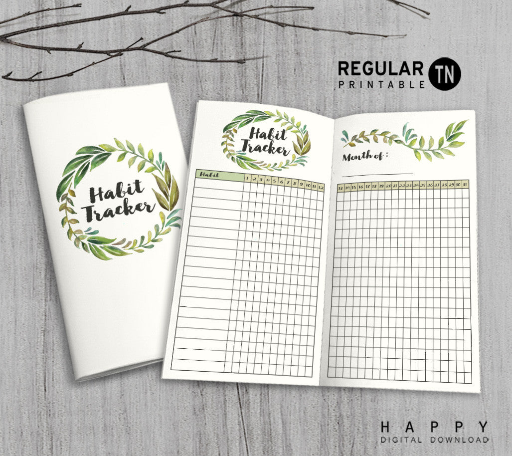 photo about Midori Insert Printable known as Printable Travellers Laptop Pattern Tracker Add - Regular monthly TN - Leaves