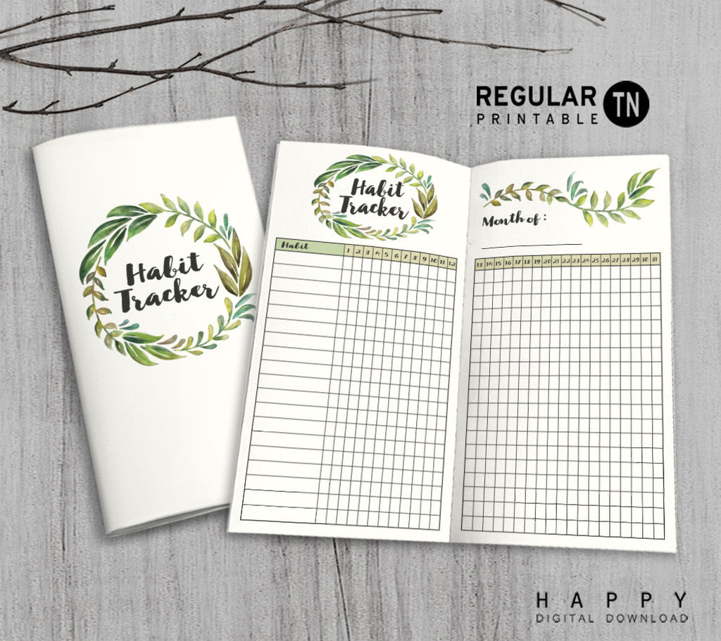 Printable Traveler's Notebook Habit Tracker Insert - Regular TN - Leaves