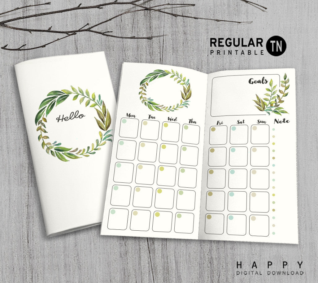 Printable Traveler's Notebook Monthly Insert - Regular TN - Leaves