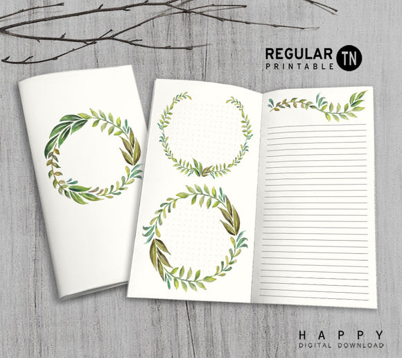 Printable Traveler's Notebook Notes Insert - Regular TN - Leaves