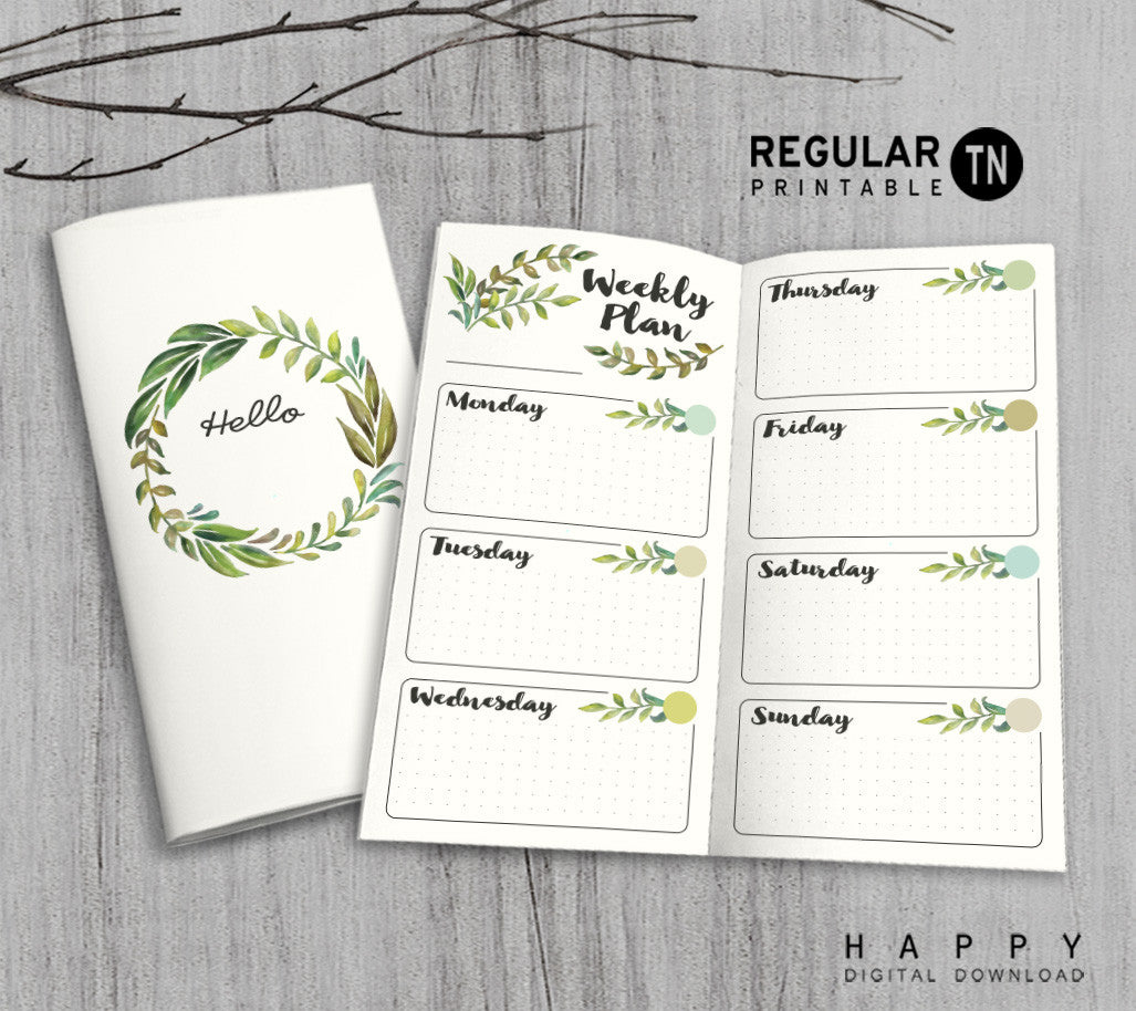 Printable Traveler's Notebook Weekly Insert - Regular TN - Leaves