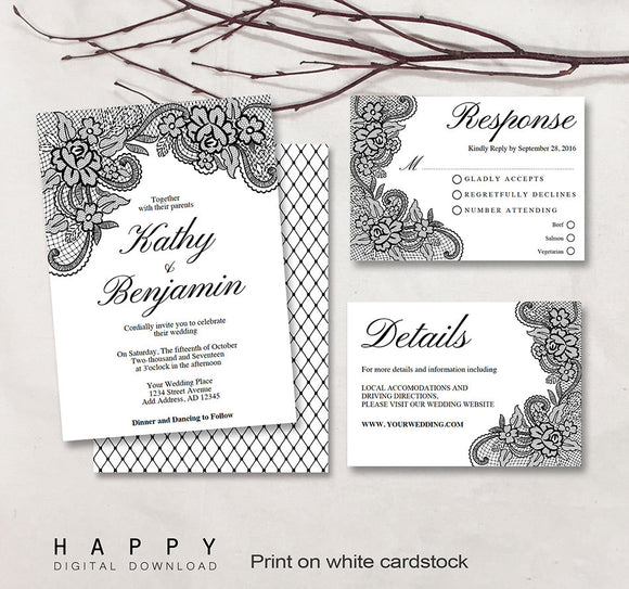 Lace Floral - Printable Wedding Invitation Bundle - 3pcs