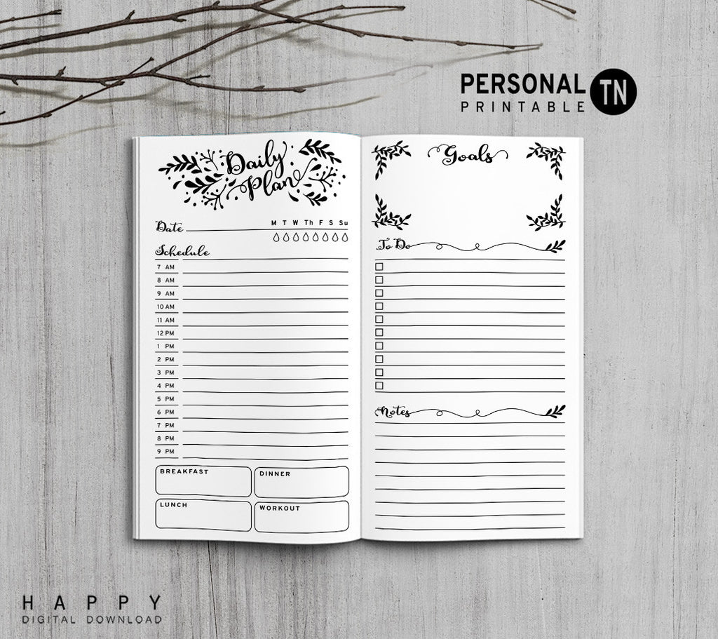 Printable Travelers Notebook Daily Insert - Personal TN - Leaves