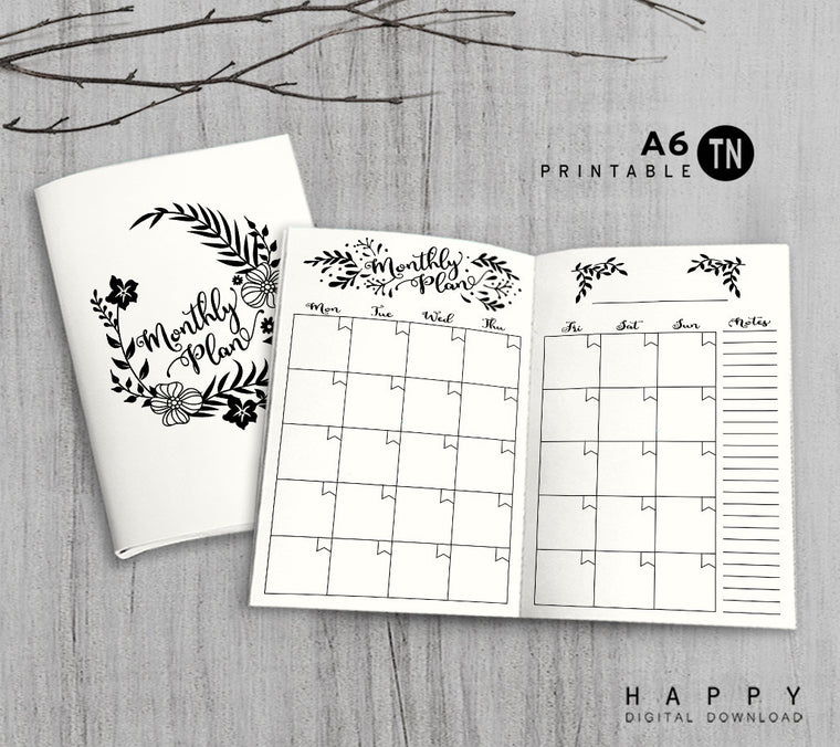 Printable Traveler's Notebook Monthly Insert - A6 TN - Leaves