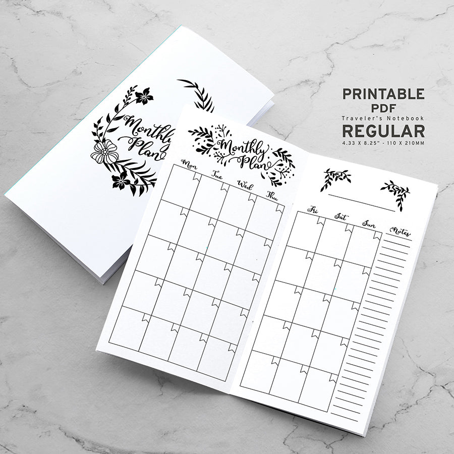 Printable Traveler's Notebook Monthly Insert - Regular TN