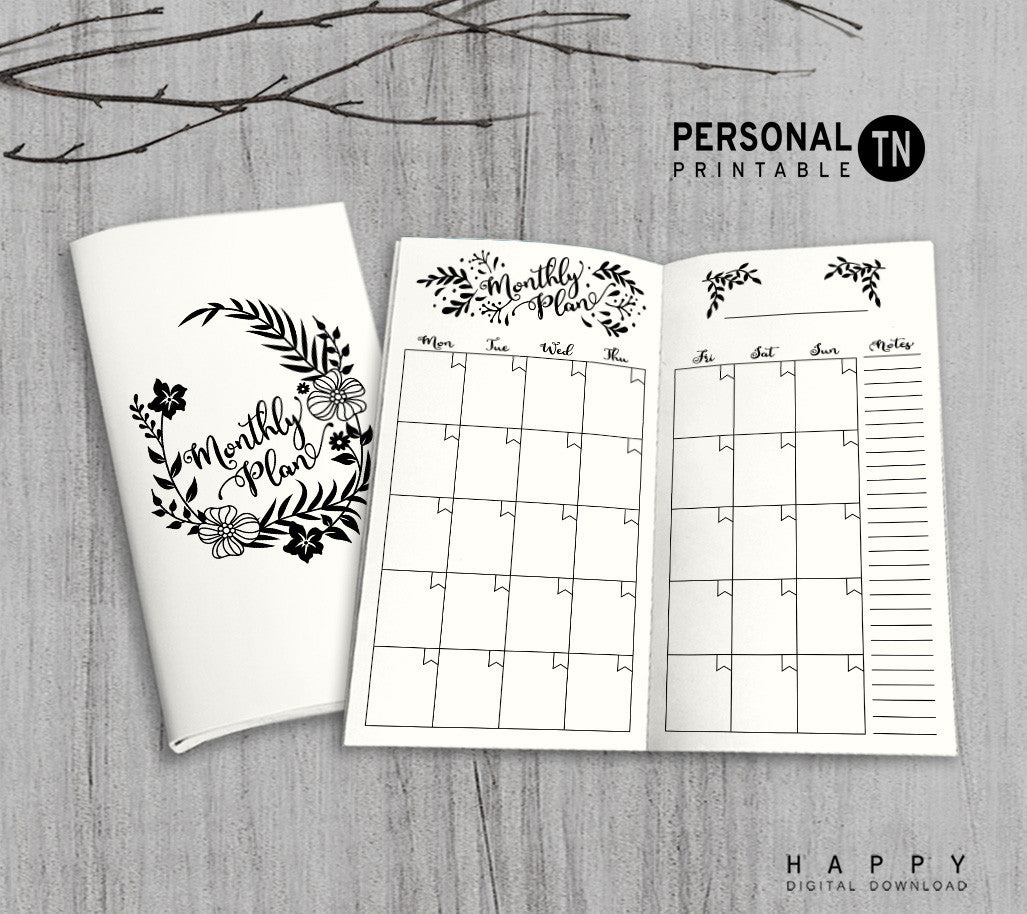 Printable Traveler's Notebook Monthly Insert - Personal TN - Leaves