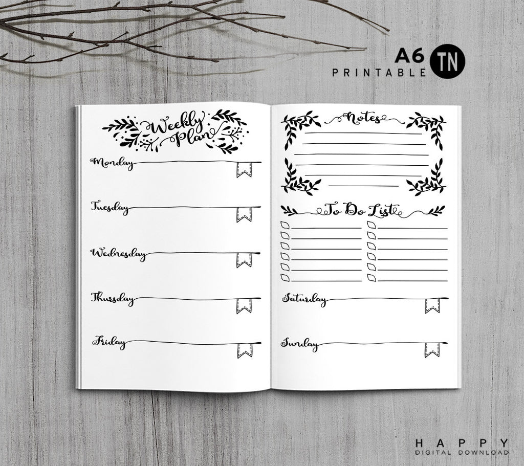 Printable Traveler's Notebook Weekly Insert - A6 TN - Leaves