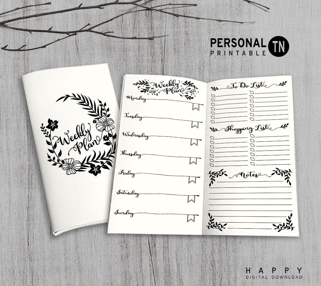Printable Traveler's Notebook Weekly Insert - Personal TN - Leaves