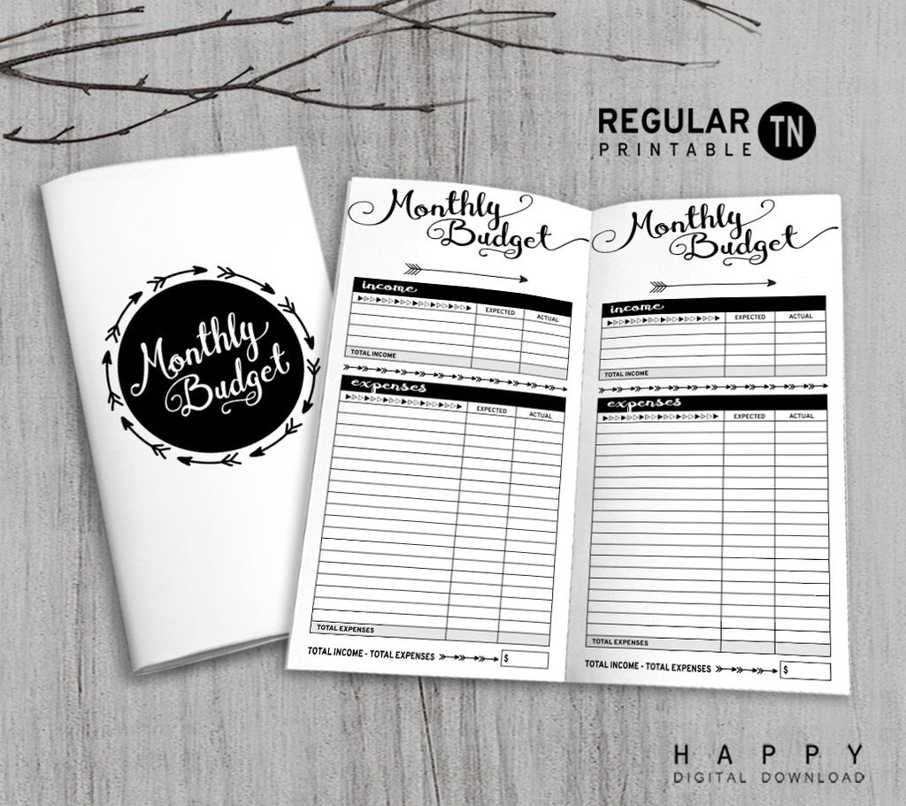 Printable Traveler's Notebook Monthly Budget Insert - Regular TN