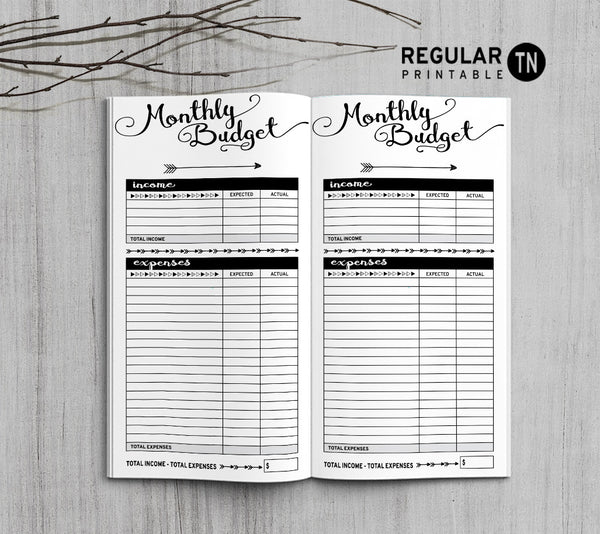 printable traveler u0026 39 s notebook monthly budget insert - regular tn