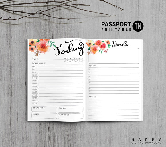 Printable Traveler's Notebook Daily Insert - Passport TN - Flower