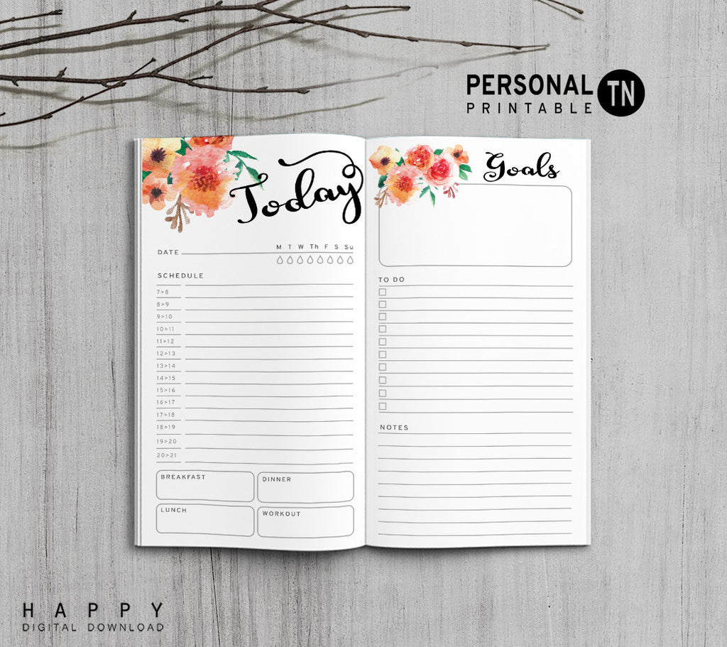 Printable Traveler's Notebook Daily Insert - Personal TN - Flower