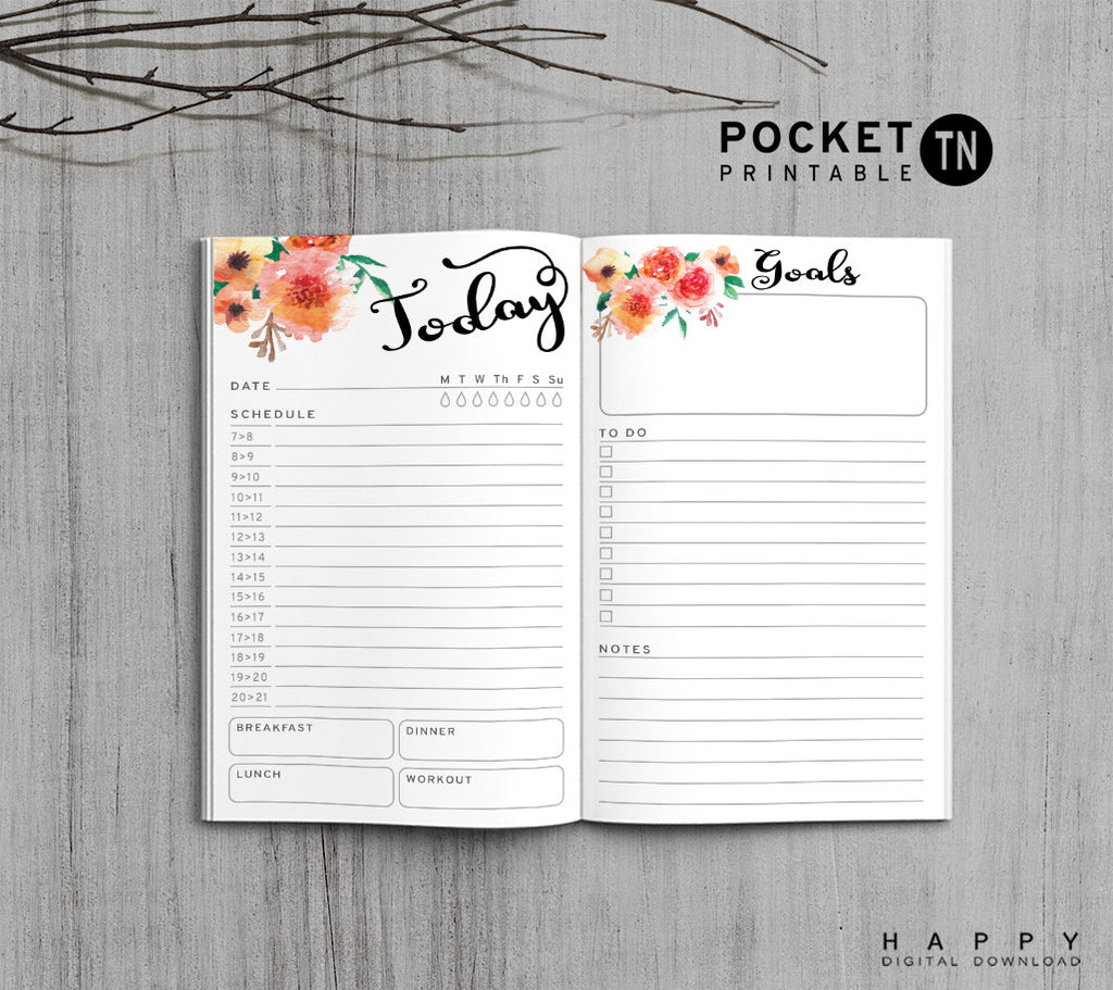Printable Travelers Notebook Daily Insert - Pocket TN - Flower