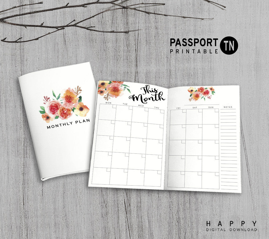 picture relating to Printable Passport identified as Printable Tourists Laptop computer Month-to-month Incorporate - Pport TN - Flower