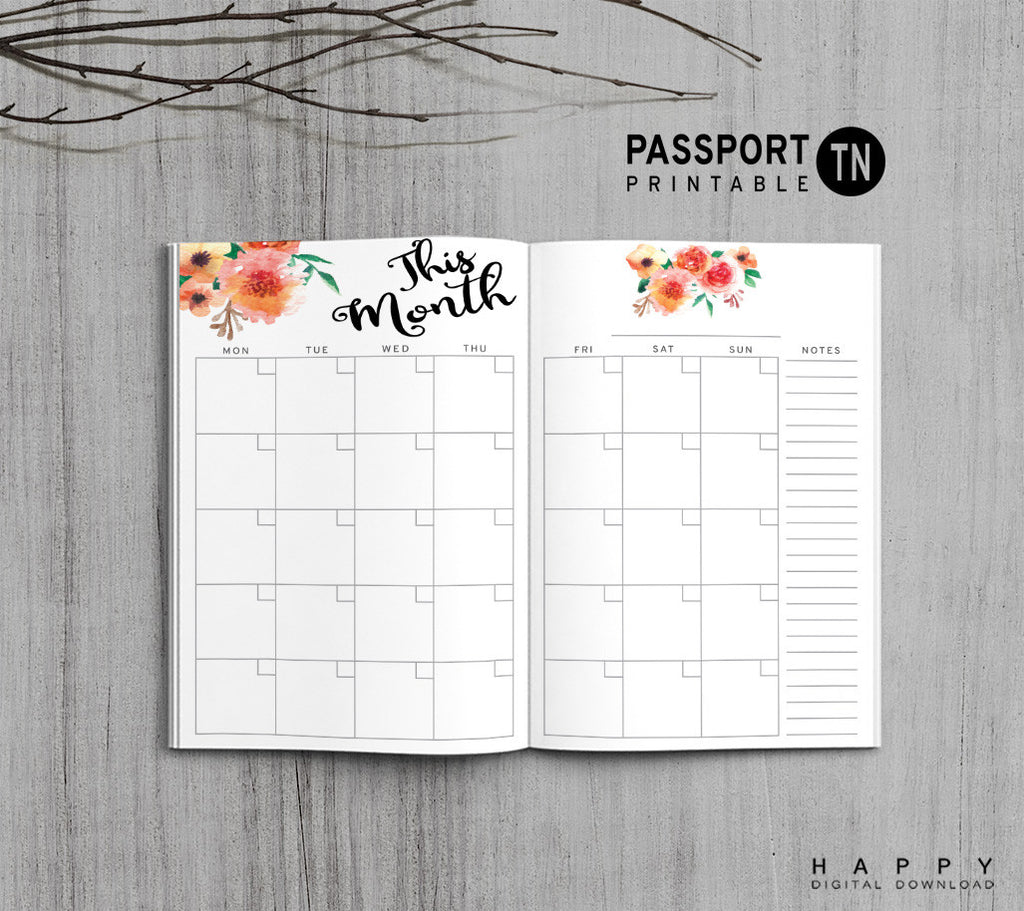 Printable Traveler's Notebook Monthly Insert - Passport TN - Flower