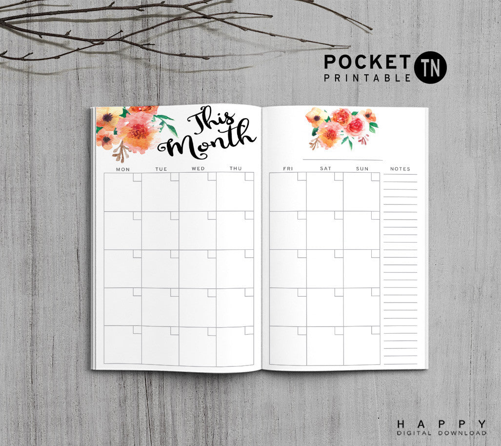 Printable Travelers Notebook Monthly Insert - Pocket TN - Flower